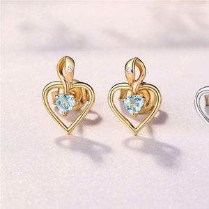 Topaz/Crystal Heart Earrings Yellow Gold Plated